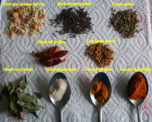Spices used in tempering