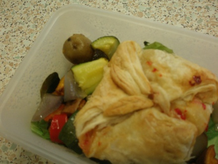 Chilli jam and brie parcels on roast vegetables
