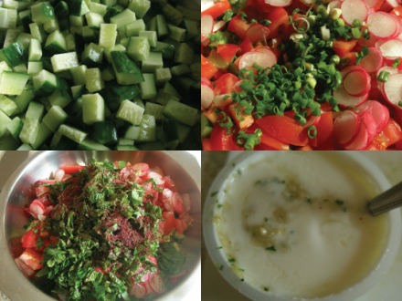 Fattoush in 4 parts