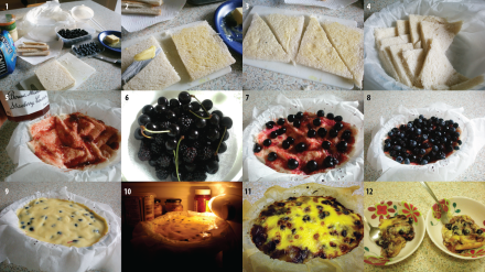 Bread, cherry and berry pudding