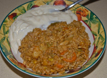 Bisi bele bhath with greek yoghurt on the side