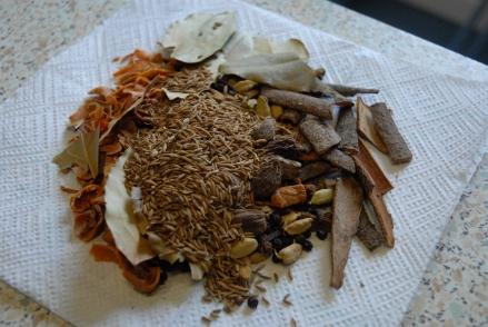 Spices roasted and ready for grinding
