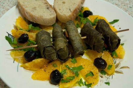 Feta, orange salad and bread